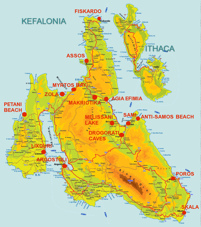Kefalonija mapa